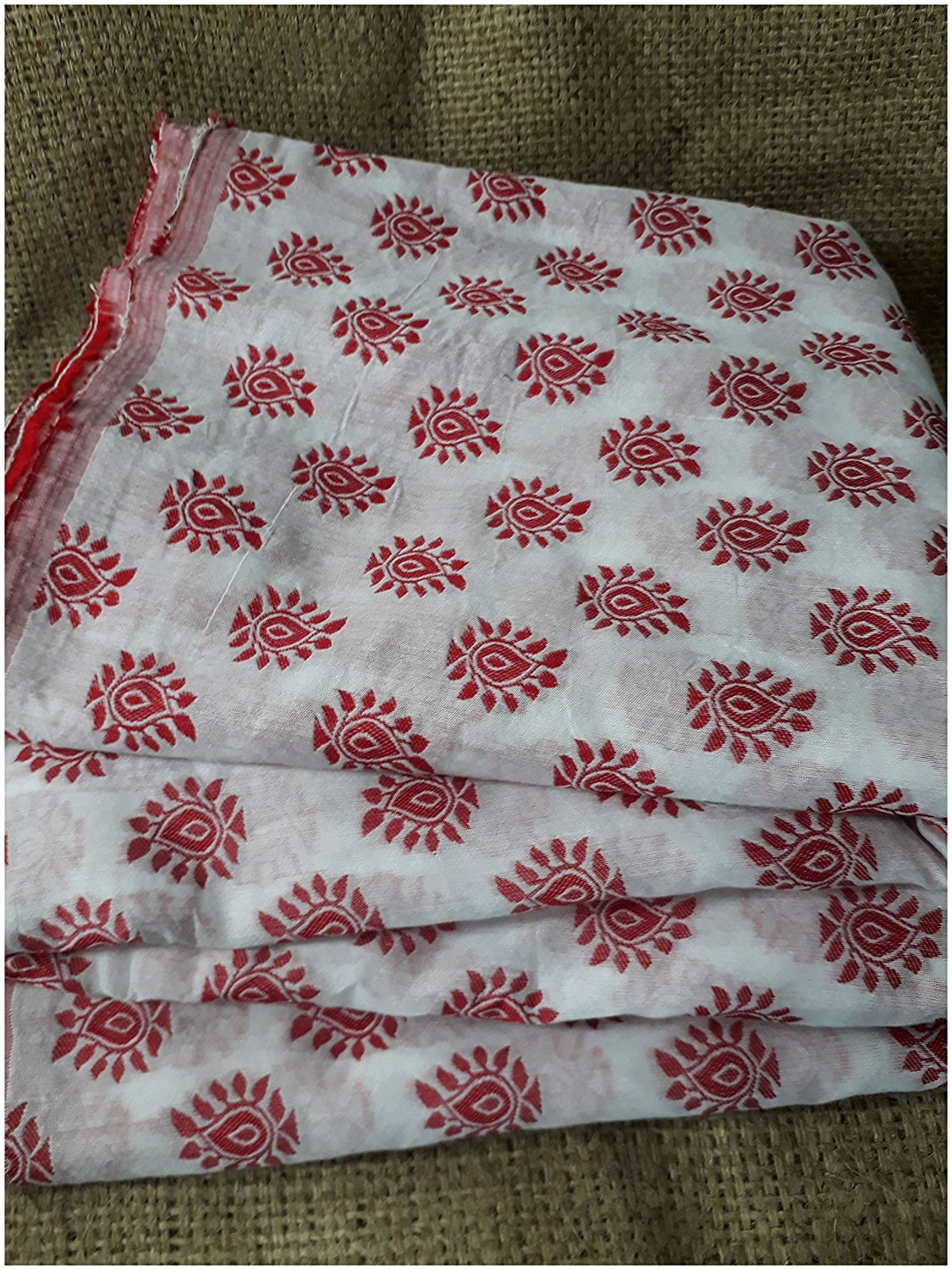 buy embroidered fabric online fabric shopping india Embroidered, Jaquard Cotton Off White, Red 47 inches Wide 1783