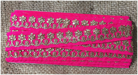 lace trim fabric embroidered lace fabric for wedding dresses india online Pink, Embroidery, Stone, 2 Inch Wide material Cotton Mix