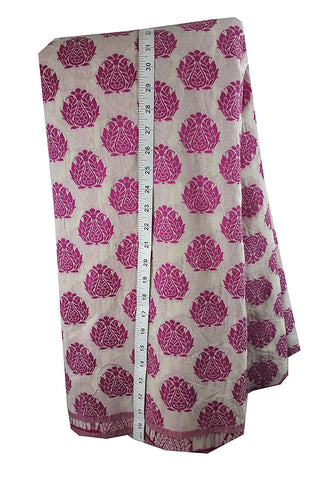 stitching material online kurti fabric online Woven Polycotton Fauchia Pink, Rani Pink, White 46 inches Wide 8038
