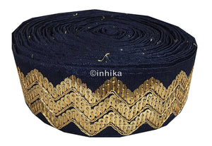 lace trim fabric decorative fabric trim ribbon for clothing Navy Blue, Embroidery, Sequins, 3 Inch Wide material Cotton Mix, Dupion
