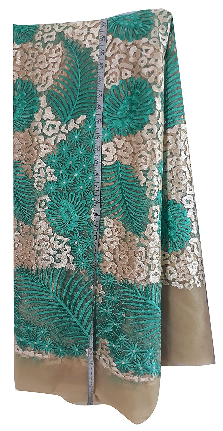kurta cloth material online blouse material online shopping Embroidered Net Beige, Light Beige, Sea Green 55 inches Wide 1636