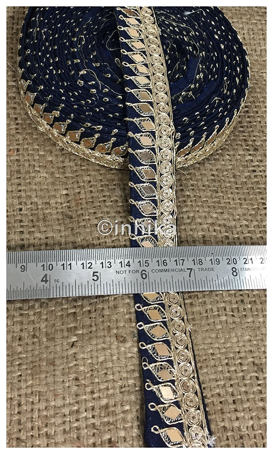 lace trim fabric beaded bridal braid trim by the yard Navy Blue, Embroidery, Mirror, 2 Inch Wide material Cotton Mix