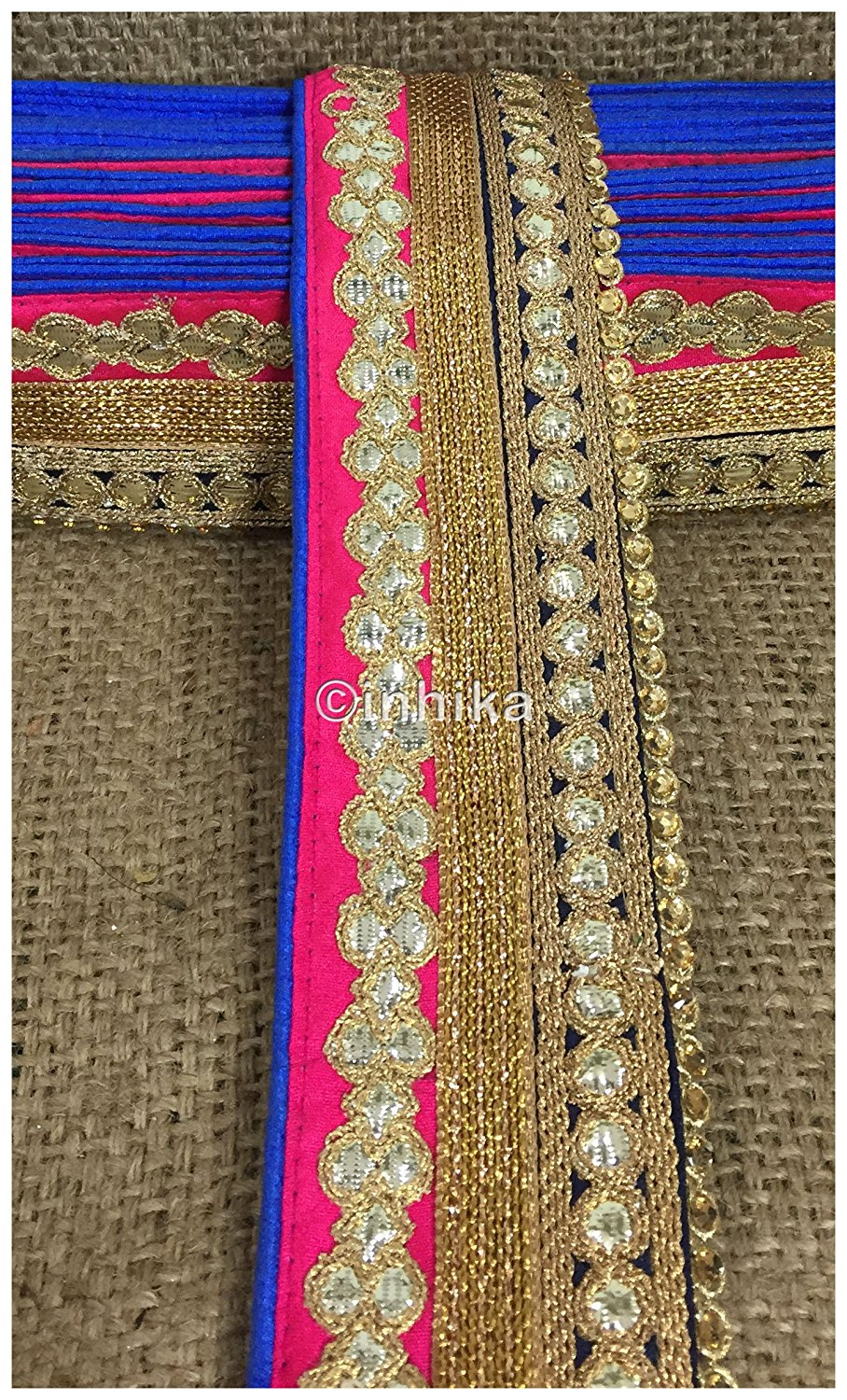 lace trim fabric online saree lace border patterns design with price Pink-Black-Embroidery-Gota-Patti-3-Inch-Wide-3308