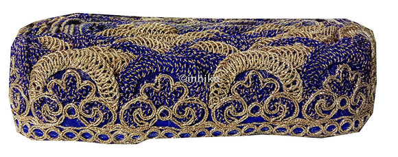 lace trim fabric fancy saree border lace for sale Royal-Blue-Embroidery-2-Inch-Wide-3259