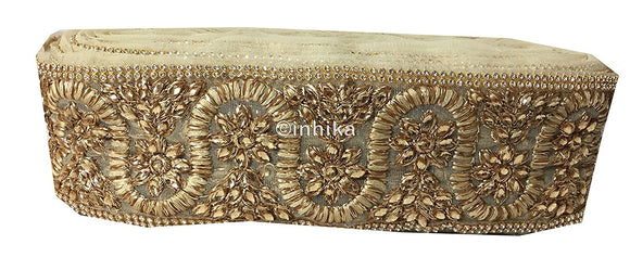 Gold Stone n Embroidered Applique Trim