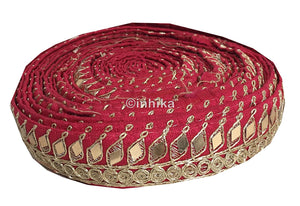 lace trim fabric trims and accessories used in garment industry Pink, Embroidery, Mirror, 2 Inch Wide material Cotton Mix