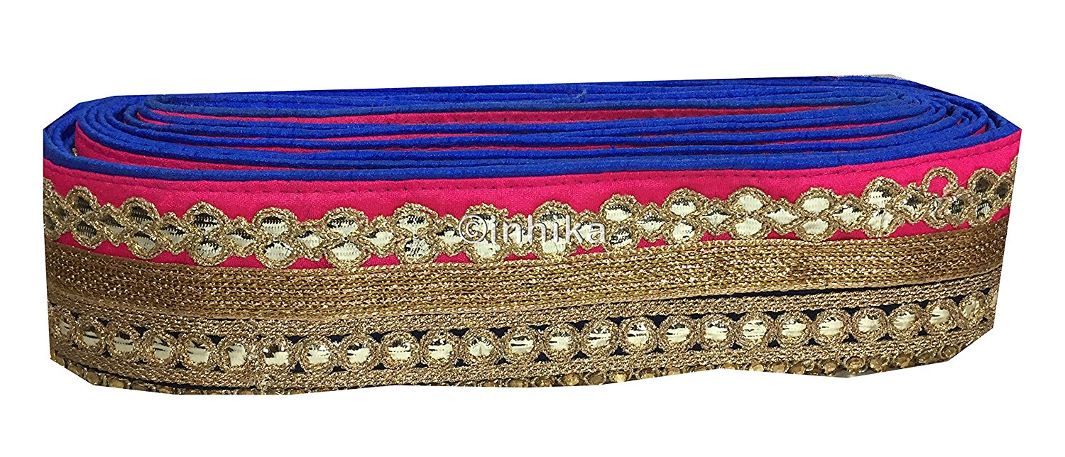 lace trim fabric designer fabric trim for garment wholesale suppliers Pink-Black-Embroidery-Gota-Patti-3-Inch-Wide-3308