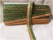 Load image into Gallery viewer, dark green stone saree border wholesale