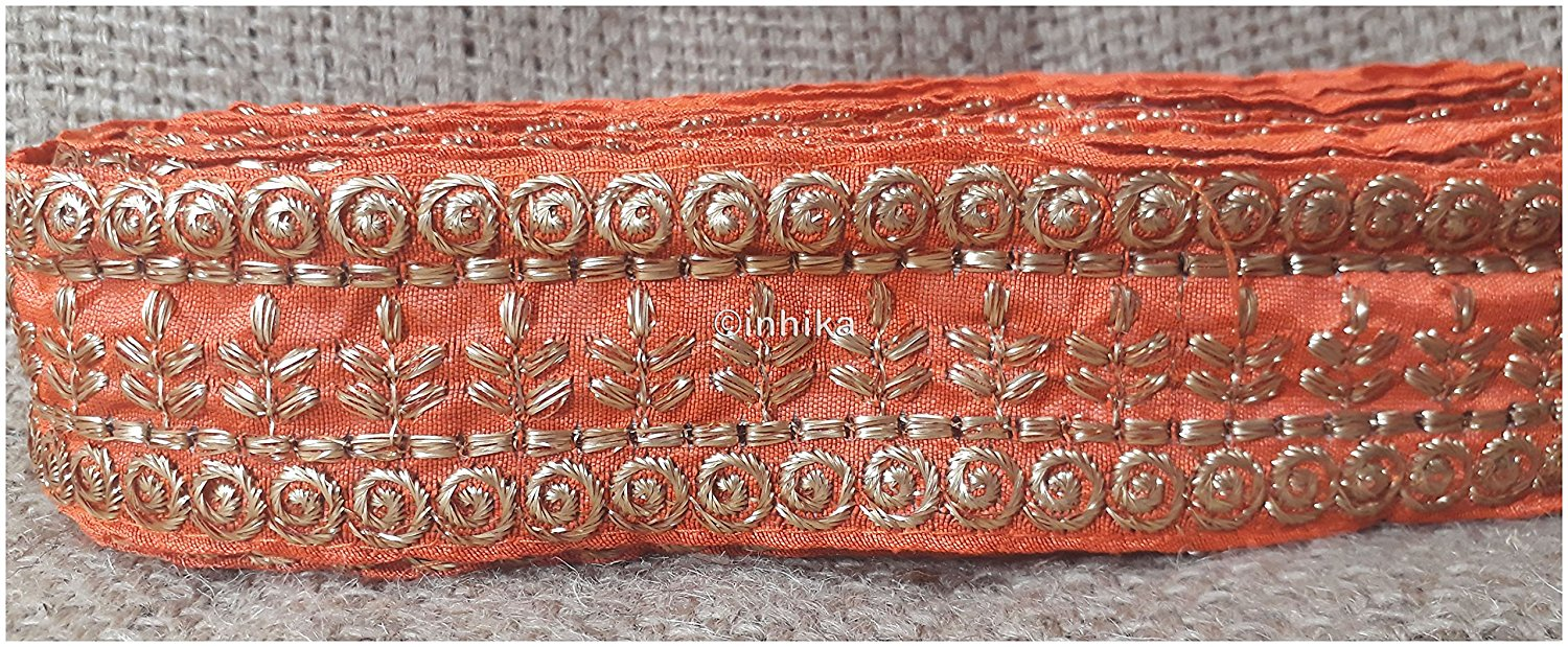 lace trim fabric where to buy fringe for clothing Orange-Embroidery-3-Inch-Wide-3292