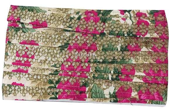 lace trim fabric saree border cheap lace fabric india Cream-Embroidered-Sequins-Printed-Base-1-Inch-Wide-3199