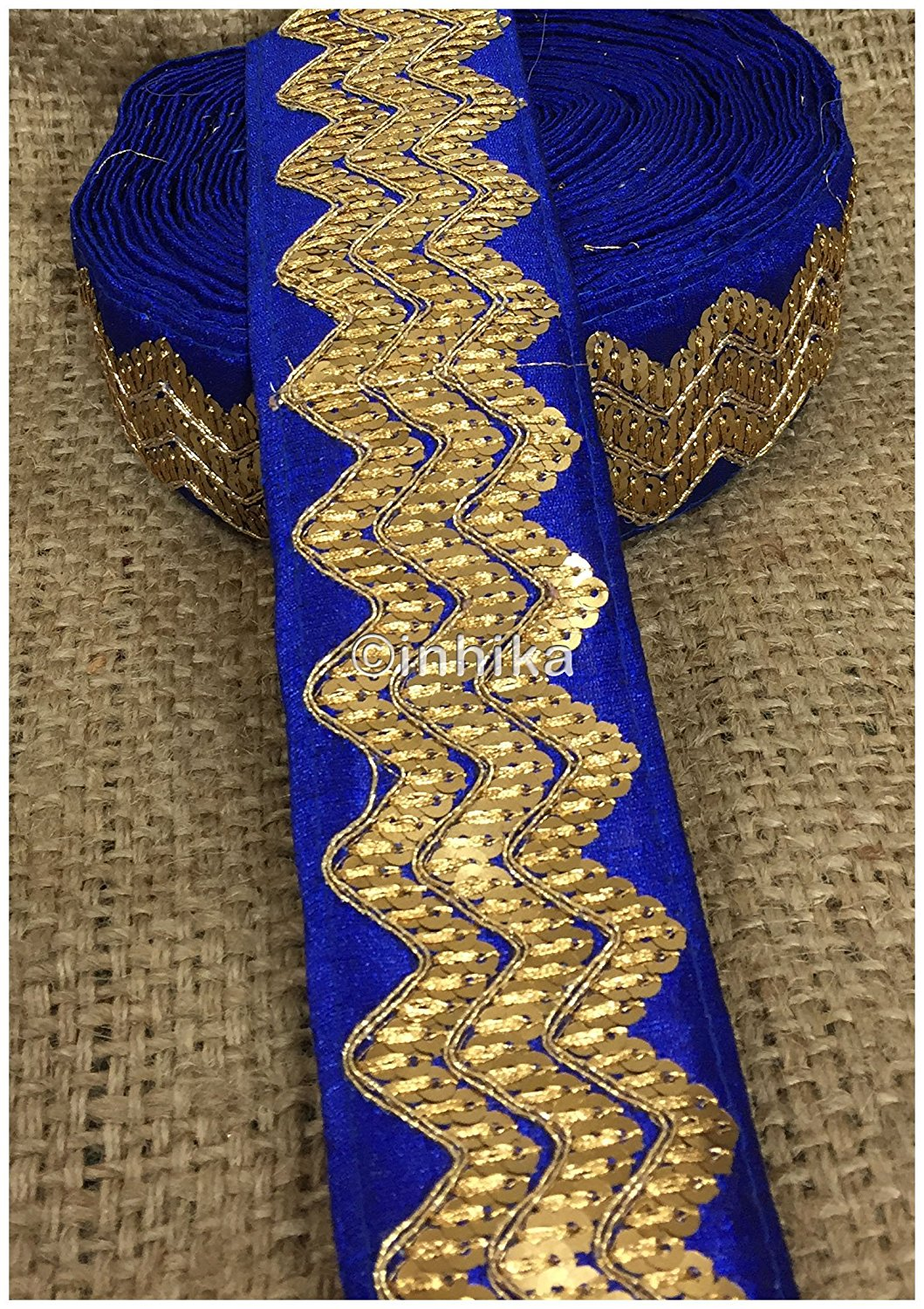lace trim fabric sewing trims and embellishments for clothing Royal Blue, Embroidery, Sequins, 3 Inch Wide material Cotton Mix, Dupion