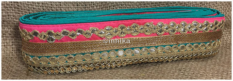 Image of lace trim fabric garment trims and accessories wholesale suppliers Peach-Teal-Green-Embroidery-Gota-Patti-3-Inch-Wide-3301