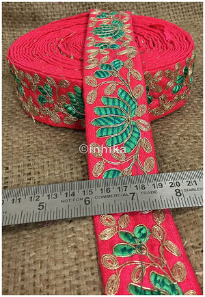 lace trim fabric trims in fashion Pink, Embroidery, 2 Inch Wide material Cotton Mix