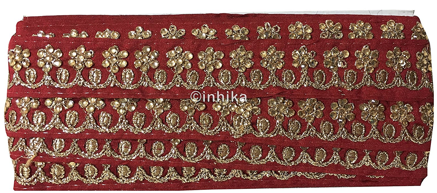 lace trim fabric fringe trim by the yard for clothing  Maroon, Embroidery, Stone, 2 Inch Wide material Cotton Mix