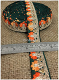 lace trim fabric designer fabric trim for garment wholesale suppliers Green, Embroidery, 2 Inch Wide material Cotton Mix