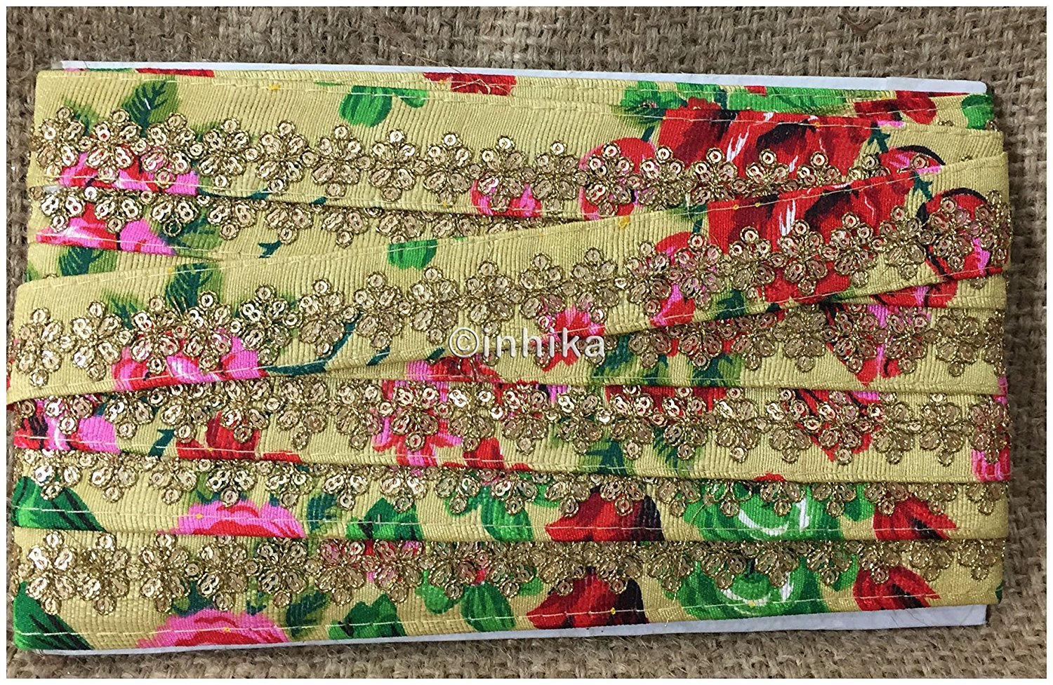 lace trim fabric garment accessories suppliers in mumbai Beige-Embroidered-Sequins-Printed-Base-1-Inch-Wide-3200
