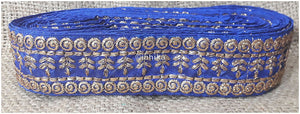 lace trim fabric beaded bridal braid trim by the yard Royal-Blue-Embroidery-3-Inch-Wide-3289