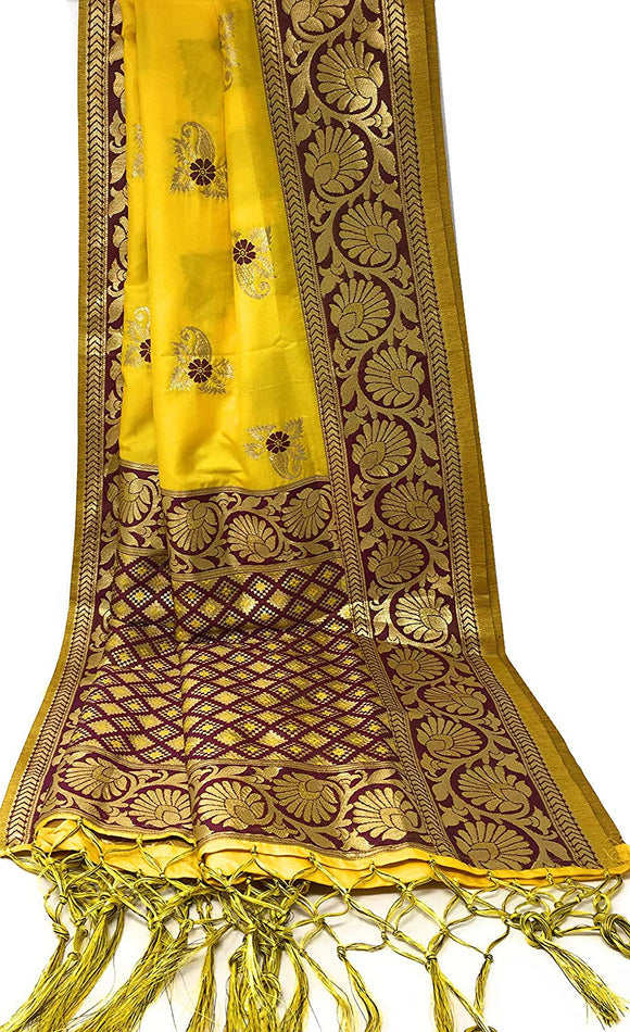 Yellow Wine banarasi dupatta