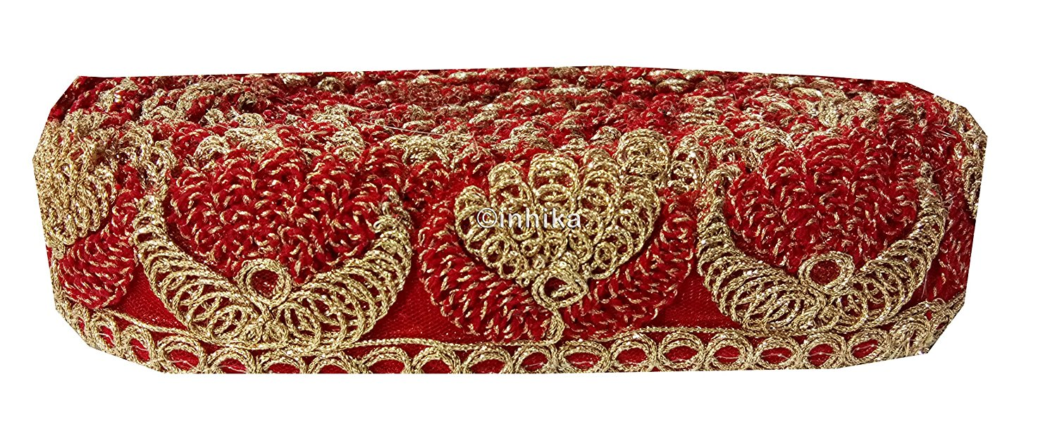 lace trim fabric beaded bridal braid trim by the yard Red-Embroidery-2-Inch-Wide-3254