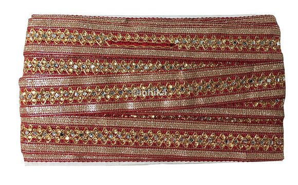 lace trim fabric garment accessories suppliers in mumbai Embroidery-Mirror-Stonefabric-Lace-Trim--2-Inch-Wide-3295