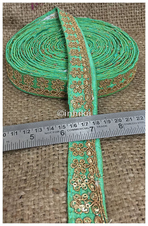 lace trim fabric decorative fabric trim ribbon for clothing Green, Embroidery, Sequins, 1 Inch Wide material Cotton Mix