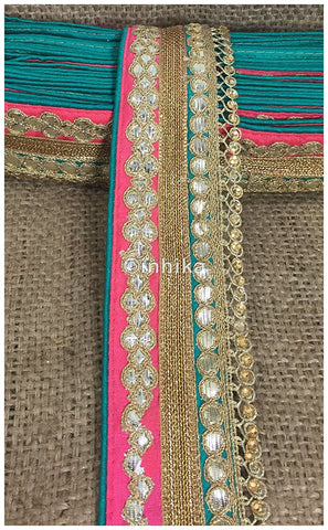 Image of lace trim fabric trims and accessories used in garment industry Peach-Teal-Green-Embroidery-Gota-Patti-3-Inch-Wide-3301