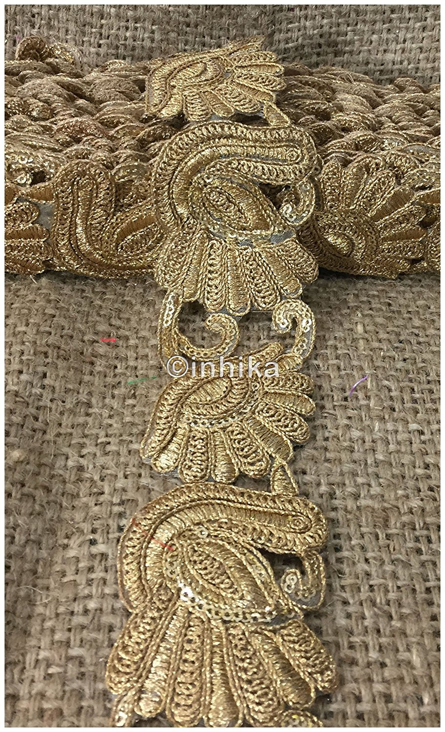 lace trim fabric lace applique trim wedding dress dance costumes and dresses Gold-Embroidery-Sequins-2-Inch-Wide-3247