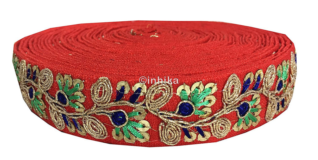lace trim fabric garment accessories suppliers in mumbai Red, Embroidery, Sequins, 2 Inch Wide material Cotton Mix