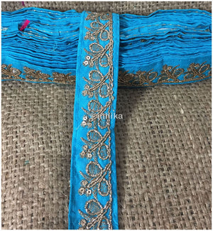 lace trim fabric where to buy fringe for clothing Blue-Embroidery-Sequins-2-Inch-Wide-3287