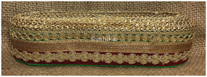 lace trim fabric sequin appliques and trims suppliers Maroon-Green-Embroidery-Gota-Patti-3-Inch-Wide-3302