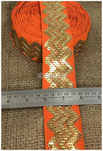 Load image into Gallery viewer, lace trim fabric bridal rhinestone lace appliques wholesale Orange, Embroidery, Sequins, 3 Inch Wide material Cotton Mix, Dupion