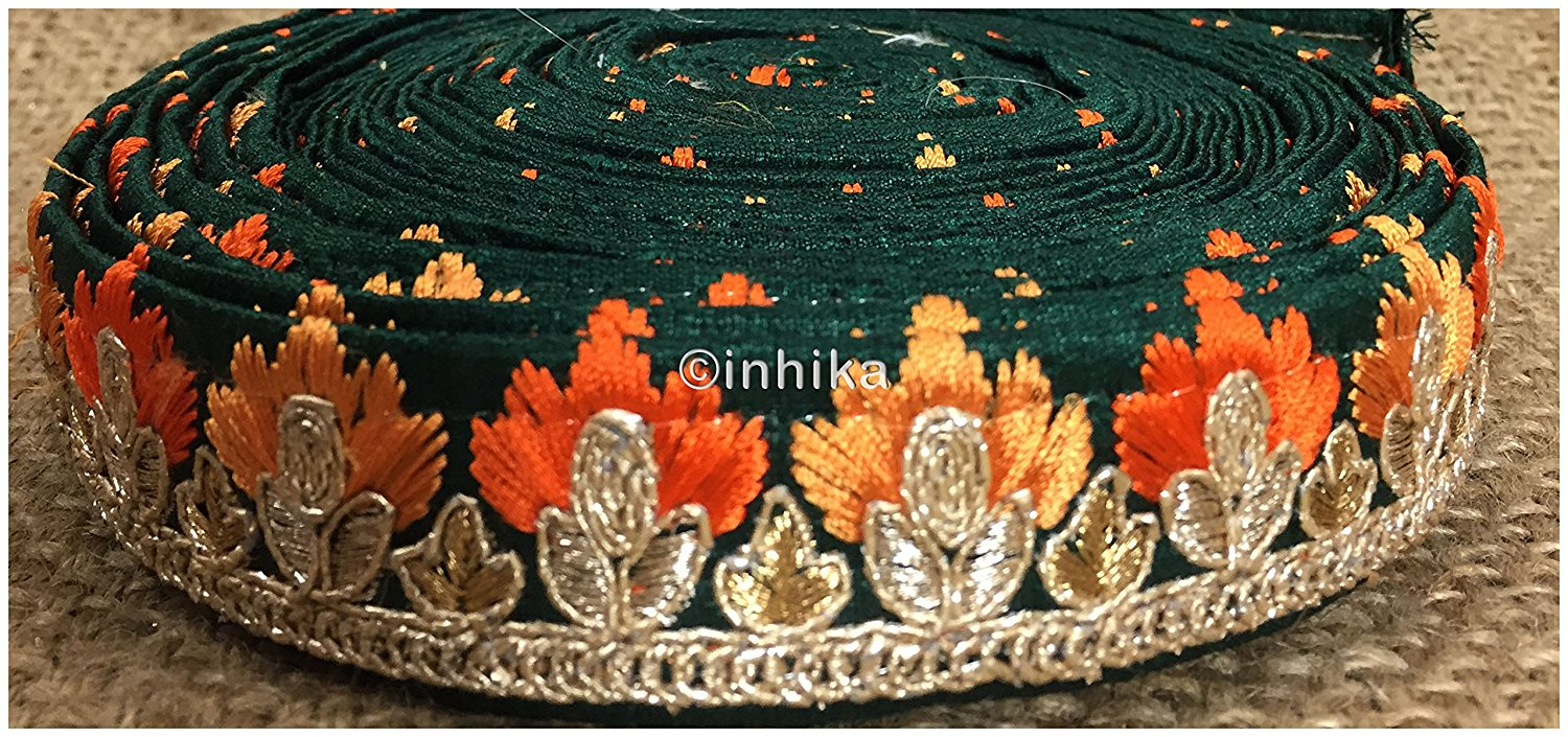 lace trim fabric fancy saree border lace for sale Green, Embroidery, 2 Inch Wide material Cotton Mix