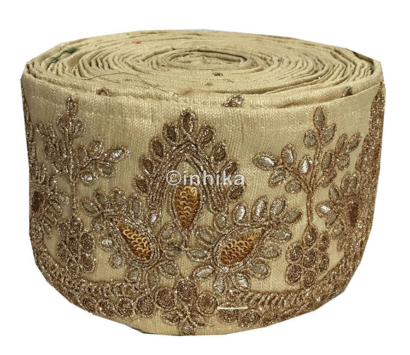lace trim fabric decorative fabric trim ribbon for clothing Beige, Embroidery, Sequins, 4 Inch Wide material Cotton Mix