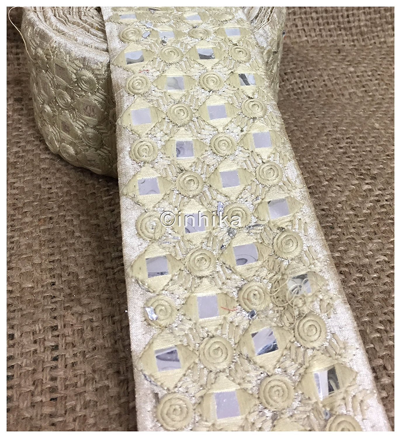 lace trim fabric lace material for dressmaking by the yard Cream, Embroidery, Faux Mirror, 3 Inch Wide material Cotton Mix