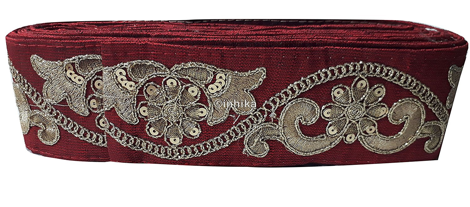 lace trim fabric garment accessories suppliers in mumbai Maroon, Embroidery, Sequins, 3 Inch Wide material Cotton Mix