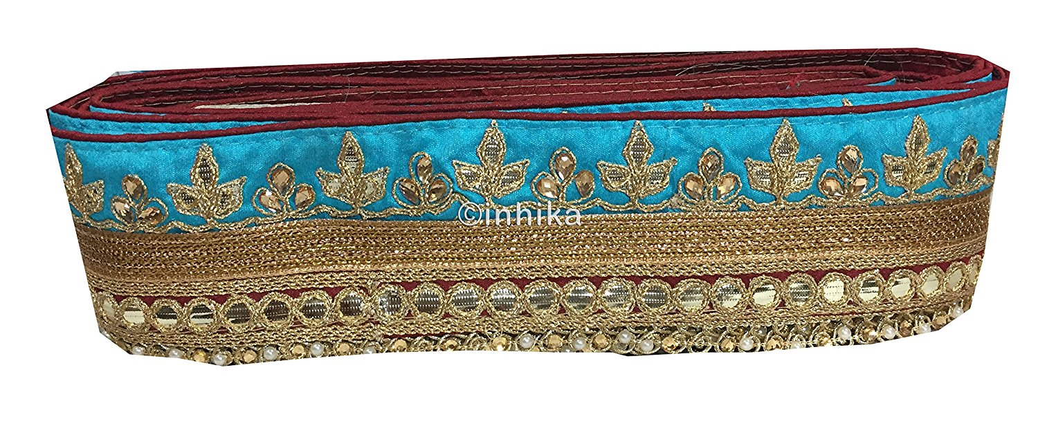lace trim fabric designer jacquard fabric ribbon trim Sky-Blue-Maroon-Embroidery-Gota-Patti-3-Inch-Wide-3304