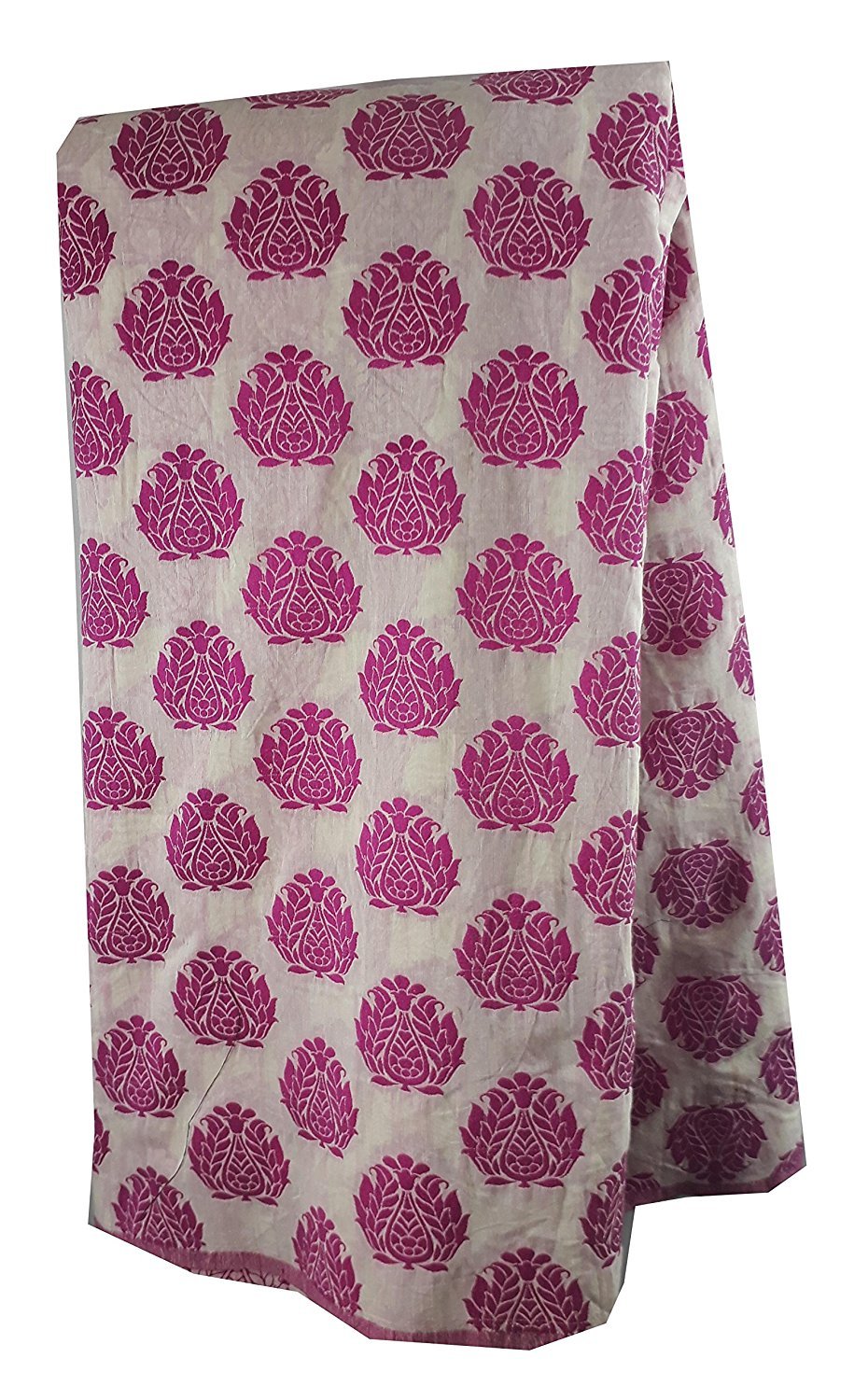fabric sale online india kurti fabric online Woven Polycotton Fauchia Pink, Rani Pink, White 46 inches Wide 8038
