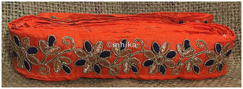 Image of lace trim fabric trims and accessories used in garment industry Orange-Flower-Embroidered-2-Inch-Wide-3214