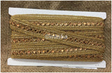 lace trim fabric bridal applique trim beaded lace Gold-Embroidered-Gold-Mirror-2-Inch-Wide-3197
