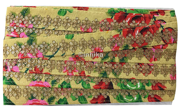 lace trim fabric online saree lace border patterns design with price Beige-Embroidered-Sequins-Printed-Base-1-Inch-Wide-3200