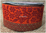 lace trim fabric garment trims and accessories wholesale suppliers Red-Orange-Zari-3-Inch-Wide-3231