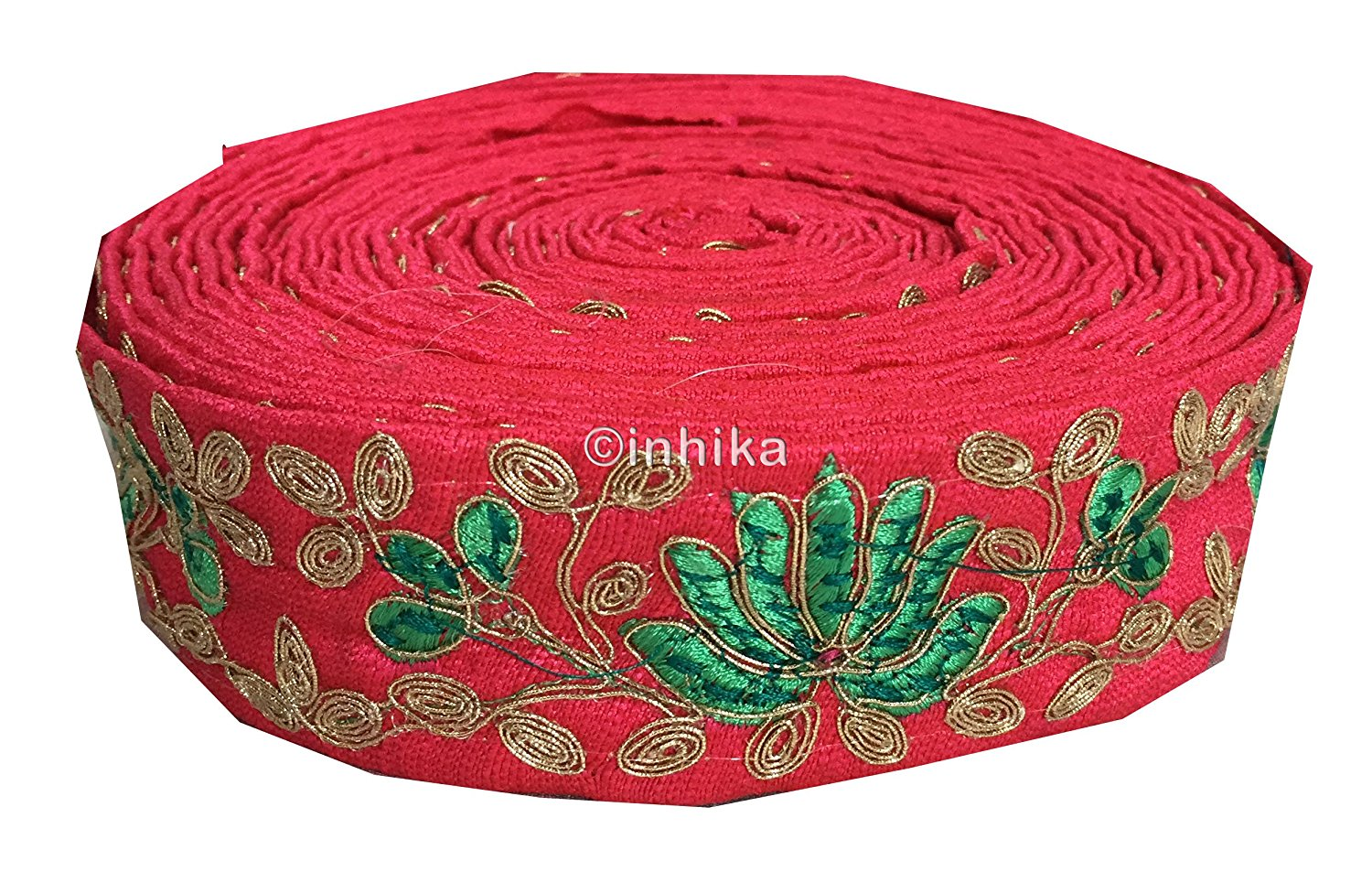 lace trim fabric trims and accessories used in garment industry Pink, Embroidery, 2 Inch Wide material Cotton Mix