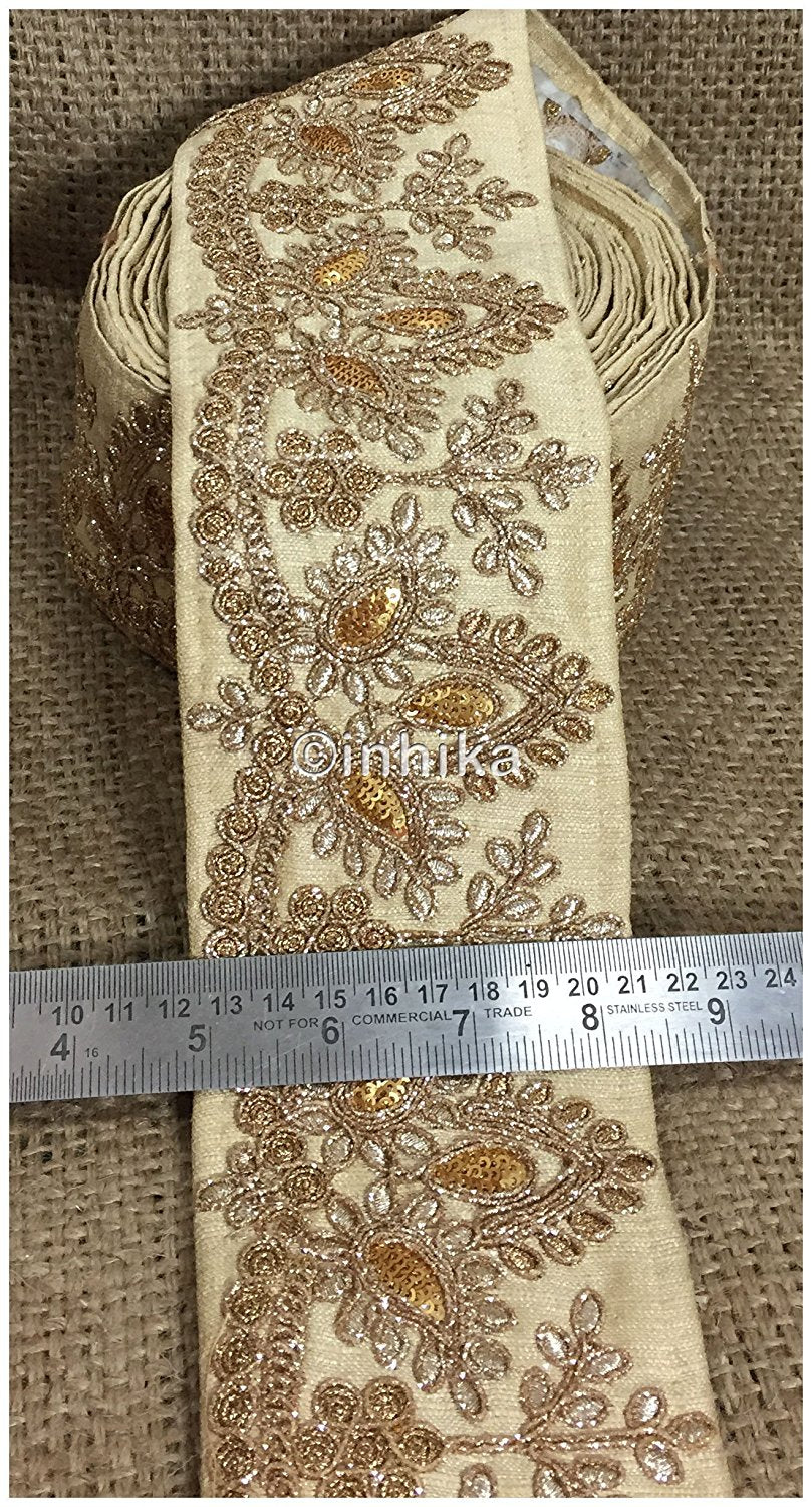 lace trim fabric bridal lace fabric uk wholesale india Beige, Embroidery, Sequins, 4 Inch Wide material Cotton Mix