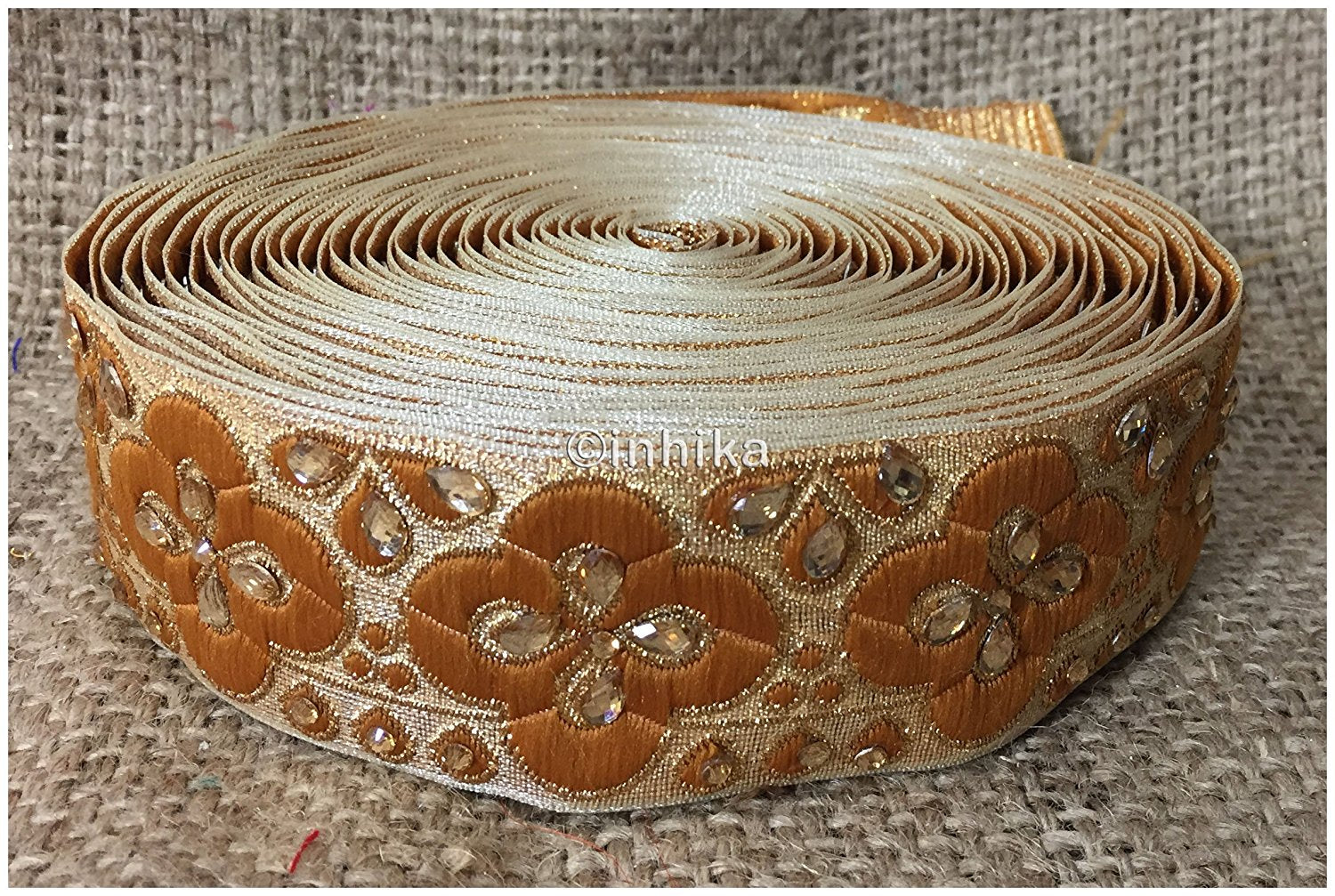 lace trim fabric beaded bridal braid trim by the yard Gold-Brocade-Stone-2-Inch-Wide-3249