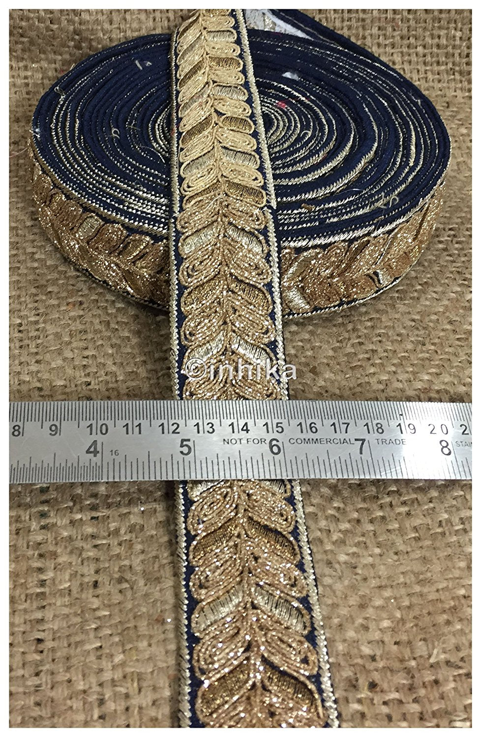 lace trim fabric bridal applique trim beaded lace  Navy Blue, Embroidery, 2 Inch Wide material Cotton Mix