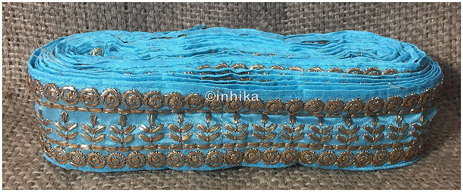 lace trim fabric decorative fabric trim ribbon for clothing Sky-Blue-Embroidery-3-Inch-Wide-3293