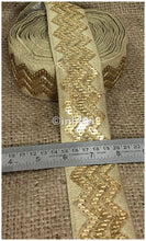 Load image into Gallery viewer, lace trim fabric garment accessories suppliers in mumbai Beige, Embroidery, Sequins, 3 Inch Wide material Cotton Mix, Dupion
