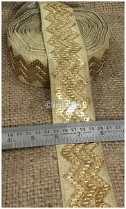 lace trim fabric garment accessories suppliers in mumbai Beige, Embroidery, Sequins, 3 Inch Wide material Cotton Mix, Dupion