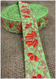 lace trim fabric decorative fabric trim ribbon for clothing Green, Embroidery, 2 Inch Wide material Cotton Mix