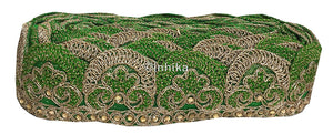 lace trim fabric sequin appliques and trims suppliers Green-Embroidery-2-Inch-Wide-3258